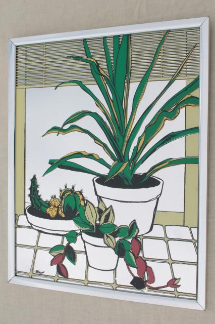 70s vintage prints on glass mirror tiles, hippie houseplants pictures mirrored wall art