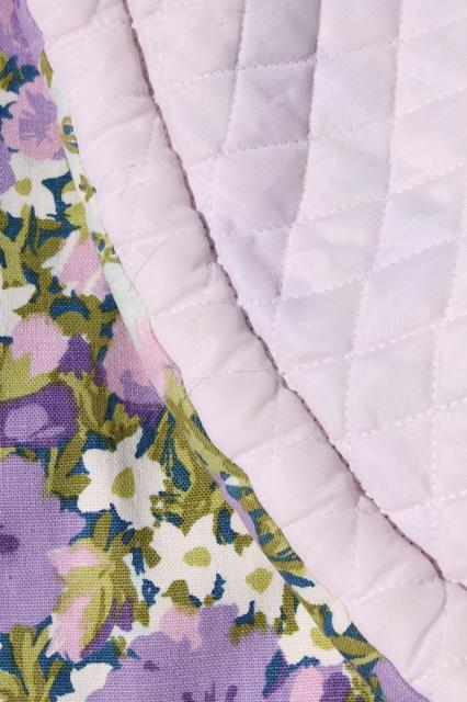 70s vintage queen size quilted cotton bedspread w/ lavender purple flowered print stripe