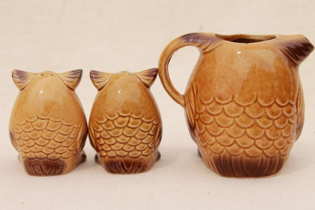 70s vintage retro owl Japan ceramic S&P shakers and pitcher, little brown owls