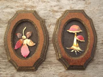 70s vintage rustic woodland wall plaques, copper mushrooms & leaves