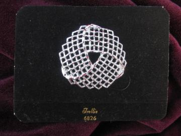 70s vintage Sarah Coventry pin, silver tone Trellis, large brooch
