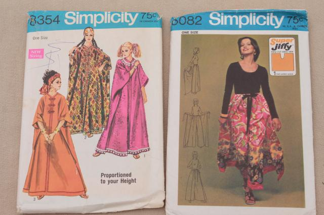 70s vintage sewing patterns, retro dresses, caftans, skimpy sun outfit hippie festival style!