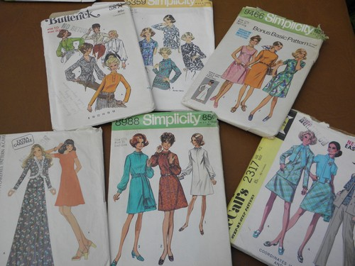 70s vintage sewing patterns, retro hippie pants, tops, juniors dresses
