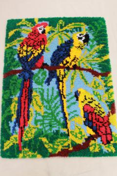 70s vintage shag rug latch hook yarn wall hanging, tropical jungle parrots macaws