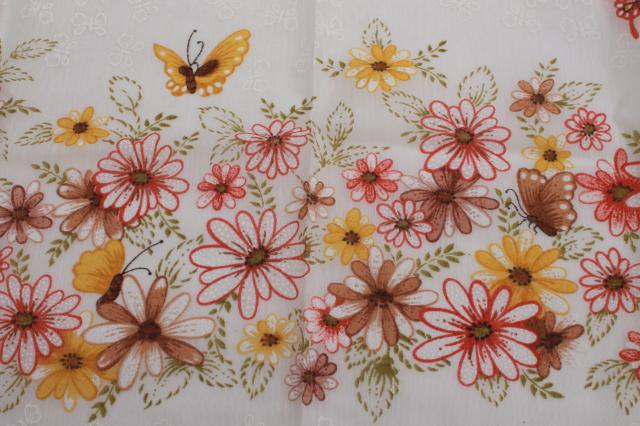 70s vintage sheer summer curtains, retro butterflies flower garden print