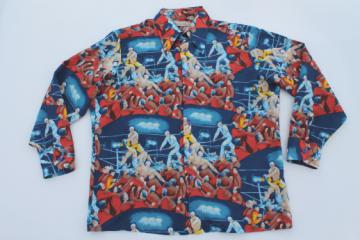 70s vintage silky poly sport shirt, retro prizefighters boxing print sportshirt