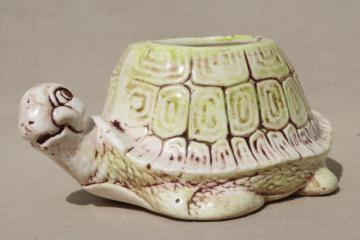 70s vintage smiling turtle planter pot, retro ceramic tortoise