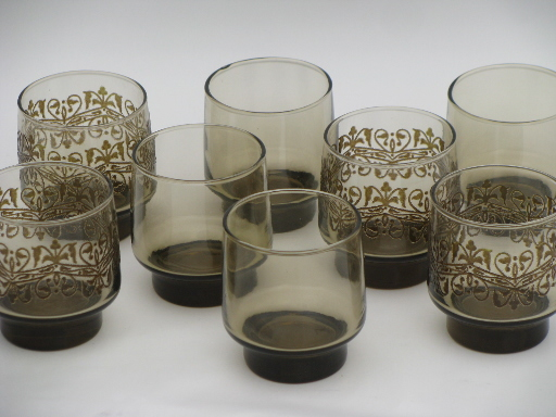 Modern kitchen accessories - 70s Vintage Smoke Brown Glasses Libbey Tawny Accent Plain