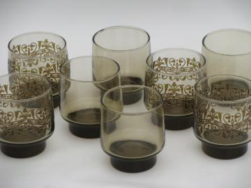 70s vintage smoke brown glasses, Libbey tawny accent plain & mod print