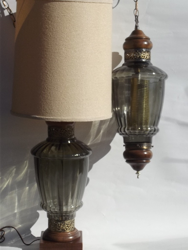 70s vintage smoke grey swag lamp huge retro glass table lamp to match mozeypictures Choice Image