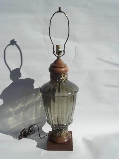 70s Vintage Smoke Grey Swag Lamp Amp Huge Retro Glass Table