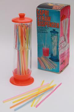 70s vintage soda straw dispenser, ice cream fountain style counter jar w/ colored plastic drinking straws