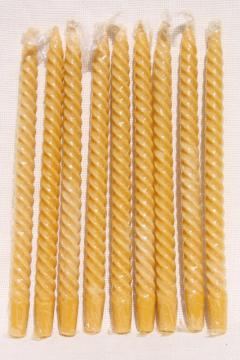 70s vintage spiral twist tall taper candles, natural beeswax amber honey gold color