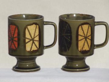 70s vintage stoneware coffee mugs, footed tall cups w/ retro starbursts
