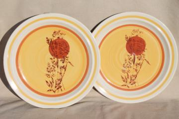 70s vintage stoneware dinner plates w/ hand painted red sun & wheat grass, Echo - Korea
