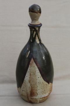 70s vintage studio pottery decanter, rustic hand-crafted stoneware bottle & stopper