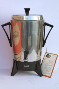 70s vintage Sunbeam party percolator, 30 cup pot stainless coffee maker AP50-A