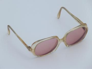 70s vintage  sunglasses, blonde eye glasses  frames  w/ retro rose colored lenses