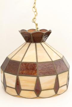 70s vintage swag lamp pendant light w/ amber & caramel slag stained glass leaded glass shade