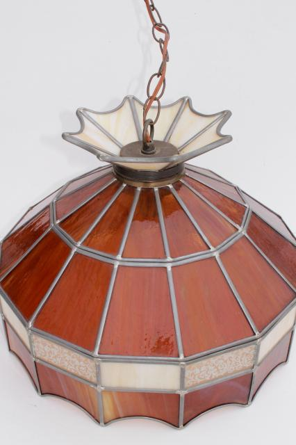 70s Vintage Swag Lamp Pendant Light W Amber Stained Glass
