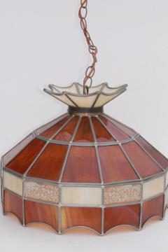 70s vintage swag lamp pendant light w/ amber stained glass leaded glass shade