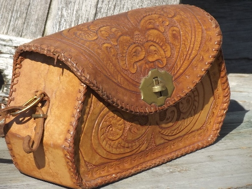 70s Vine Tooled Leather Purse Retro Hippie Shoulder Bag Made In