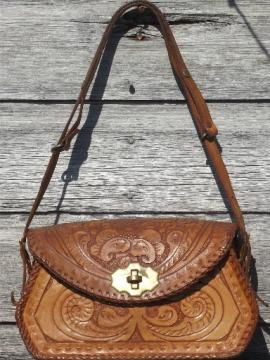70s vintage tooled leather purse, retro hippie shoulder bag made in Mexico