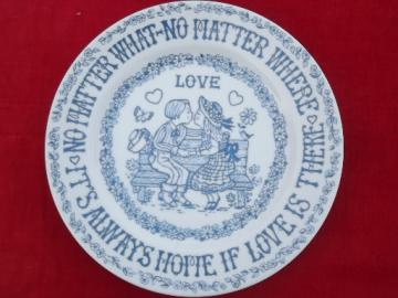 70s vintage wall hanging plate, Love no matter what or where, cute & retro!