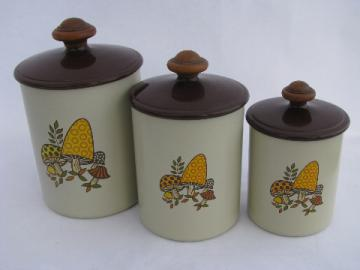 70s vintage West Bend aluminum kitchen canisters, retro spotted mushrooms