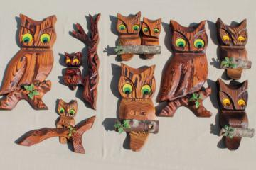 70s vintage wood rustic carved wood owls, collection of wall art wooden owl plaques