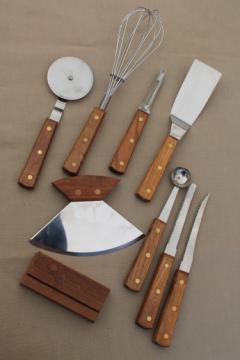 70s vintage wood stainless kitchen utensils & rocking chopper blade w/ teak handle