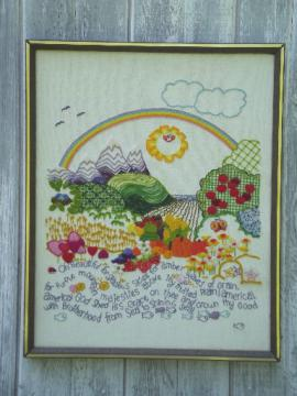 70s vintage wool embroidery picture, America the Beautiful w/ smiling sun