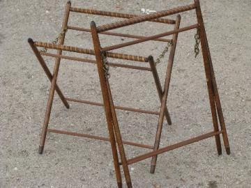 70s wood frames for knitting / sewing bag, needlework stand frame lot