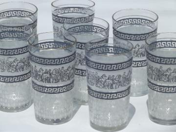 8 blue & white classical greek key pattern glass tumblers, 60s vintage
