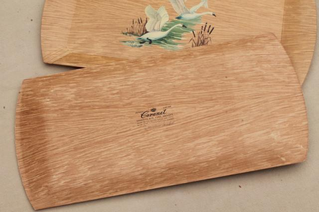 8 vintage Haskelite lap trays, meal or snack tray set w/ white swans wood grain print