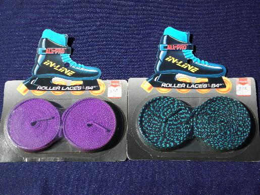 80s 90s  rollerblade skate laces, long boot shoelaces in retro colors