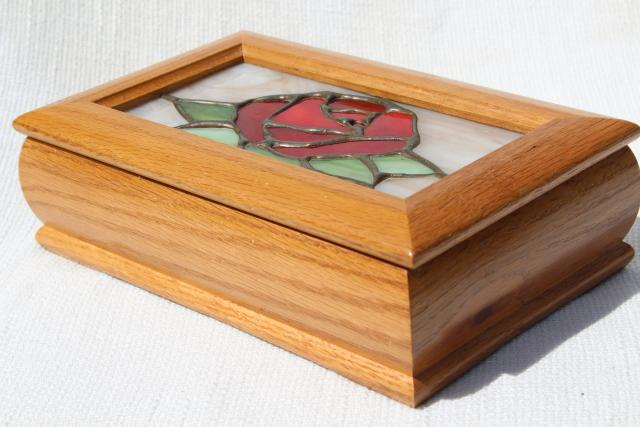 80s 90s vintage stained leaded glass jewelry box Beauty and the