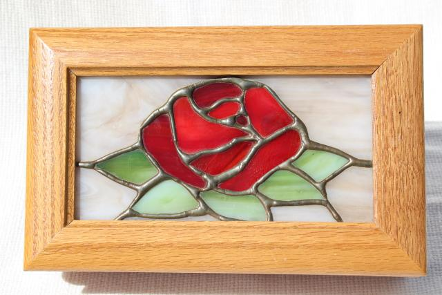 80s 90s vintage stained leaded glass jewelry box, Beauty and the Beast red rose