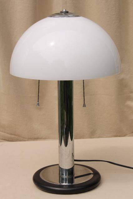 80s Mod Vintage Tubular Chrome Steel Table Lamp W/ Plastic Mushroom Shade