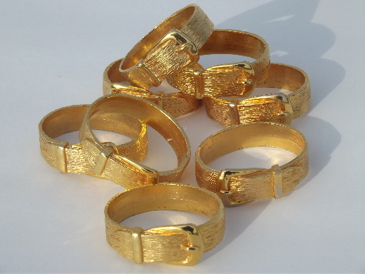 80s retro belted napkin rings set gold tone metal belt and buckle