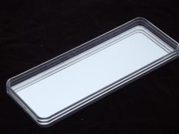 80s retro deco clear lucite acrylic plastic tray w/ oblong glass mirror