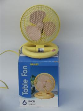 80s retro plastic fan, working electric fan pink blades & yellow cage
