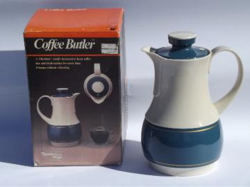 80s Thermos Coffee Butler insulated plastic carafe pitcher in box, never used
