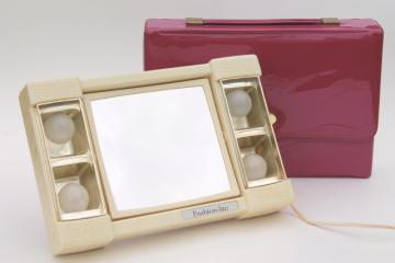 80s vintage Fashion Lite lighted makeup mirror, light up magnifying mirror