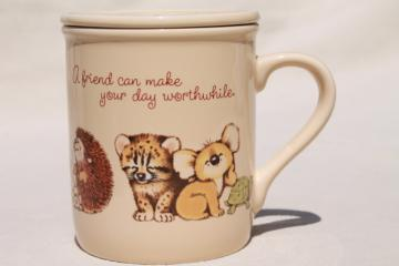 80s vintage Hallmark Mug Mates cup & coaster / lid set, A Friend Can Make Your Day
