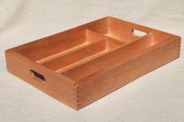 80s vintage birch hardwood utensil tray organizer box, Scandinavian modern style