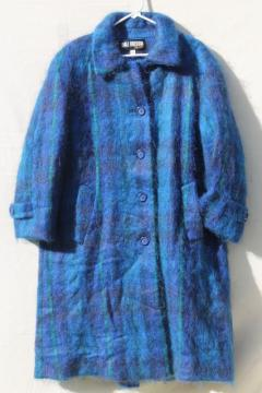 80s vintage blue plaid wool mohair overcoat, single breasted oversize reefer coat ladies 12