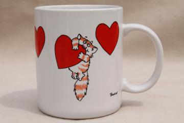 80s vintage coffee mug, Boynton style Bowers kitty w/ hearts, Shoebox Greetings Hallmark