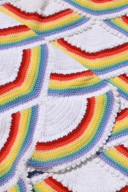 80s vintage crochet afghan rainbows in the clouds, retro rainbow brite colors