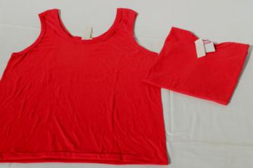 80s vintage deadstock t shirts, Screen Stars label sleeveless tees, red poly/cotton tanks
